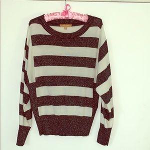 Navy Blue & White Striped Sparkle Sweater